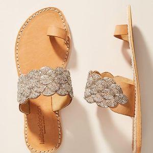 NEW Anthro Beaded slip on cesk sandal leather